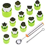 fruit shapes - TIMGOU 12 Pcs Vegetable Fruit Cutter Shapes Set with Melon Baller Scoop and Cleaning Brush, Mini Pie Cookie Stamps Mold for Kids Crafts Baking and Food Supplement Tools for Kitchen-Green