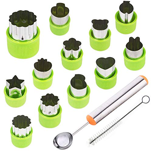 (TIMGOU 12 Pcs Vegetable Fruit Cutter Shapes Set with Melon Baller Scoop and Cleaning Brush, Mini Pie Cookie Stamps Mold for Kids Crafts Baking and Food Supplement Tools for Kitchen-Green)