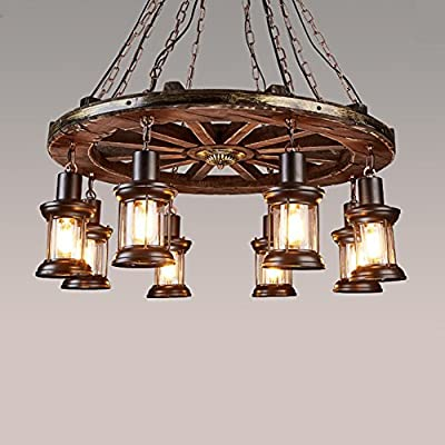 OOFAY retro industrial design chandelier 8 head wooden wheel home decor cafe living room restaurant