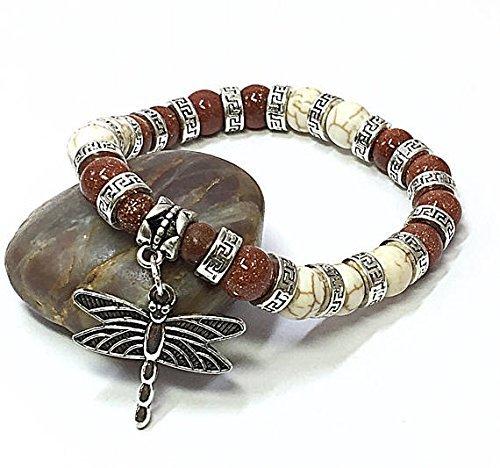 Patriotic Beaded Bracelet (Dragonfly Bracelet Christmas Gift Idea Charm Bracelet Beaded Stretch Bracelet Sandstone Bracelet)