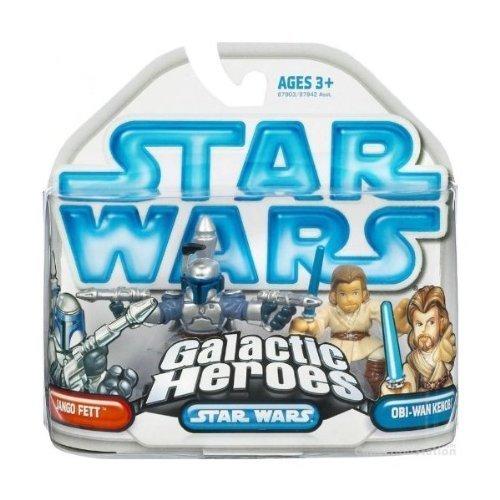 Rare 2008 Star Wars Galactic Heroes Jango Fett and Obi-Wan Kenobi Hasbro
