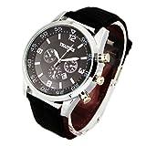 Men's Quartz Analog Waterproof Wrist Watch with Black Leather Strap