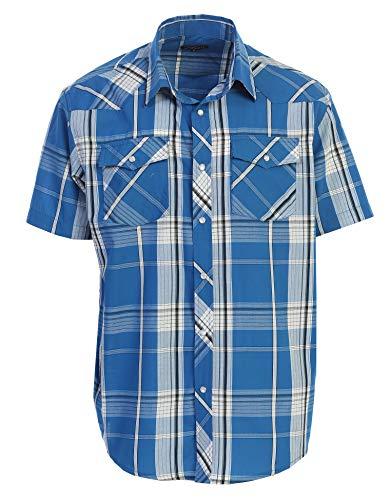 Gioberti Men's Plaid Western Shirt, Turquoise/White/Black Line, XX Large
