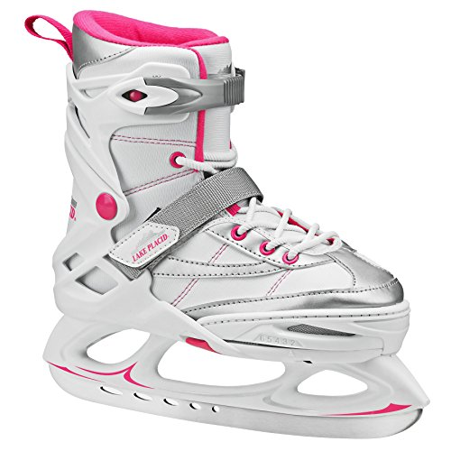 Lake Placid Monarch Girls Adjustable Ice Skate, White/Pink, Large/6-9