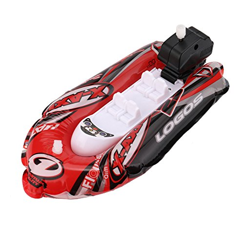 Toy Boat Bath Toys-Children's Toy Boat Combo 3 pack | Kids Beach Toys Set of 3 Includesx1 Mini Inflatable Boat, x1 Inflator, And x1Small Motor| Toy Boat Combo for Swimming Pool, Beaches And Tubs(Red)