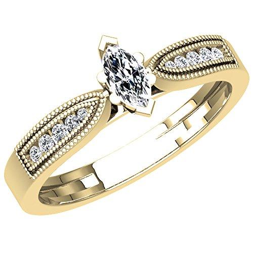 0.30 Carat (ctw) 18K Yellow Gold Marquise & Round Diamond Bridal Engagement Ring 1/3 CT (Size (0.30 Ct Marquise Diamond)
