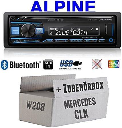 Autoradio Radio Alpine Ute 200bt Bluetooth Usb Mp3 1 Din Pkw Kfz 12v Einbauzubehör Einbauset Für Mercedes Clk W208 Just Sound Best Choice For Caraudio Navigation