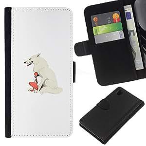 LECELL--Cuero de la tarjeta la carpeta del tirón Smartphone Slots Protección Holder For Sony Xperia Z1 L39 -- White Wolf & Girl --