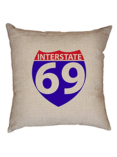 Hollywood Thread Interstate 69 - Road Sign Pun - Funny Decorative Linen Throw Cushion Pillow Case with Insert by Hollywood Thread