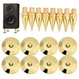 Speaker Feet Kit, 8 Pairs 6 x 36MM Pure Copper Spike Isolation Stand + Base Pad Feet Mat for Subwoofer CD Audio Amplifier