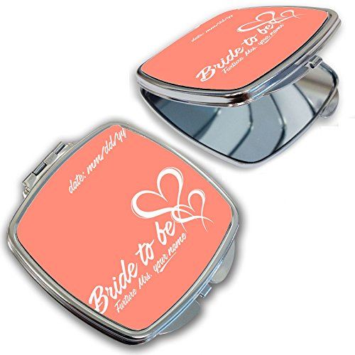 BleuReign(TM) Personalized Custom Name and Date Bride to Be Compact Mirror