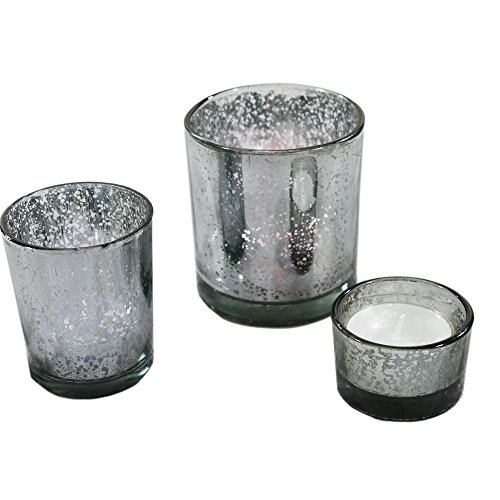 Romantic Mercury Glass Candle Holders Set of 3 Votive Tealight Candlestick For Home And Wedding Decoration (Gray) (Candle Holders Gray)