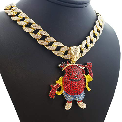 BLINGFACTORY Hip Hop Iced out KOOL AID MAN Pendant w/ 18