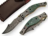 AishaTech Fabius Folding Knife Damascus Steel Blade and Double Bolsters Decorative Bone Handle