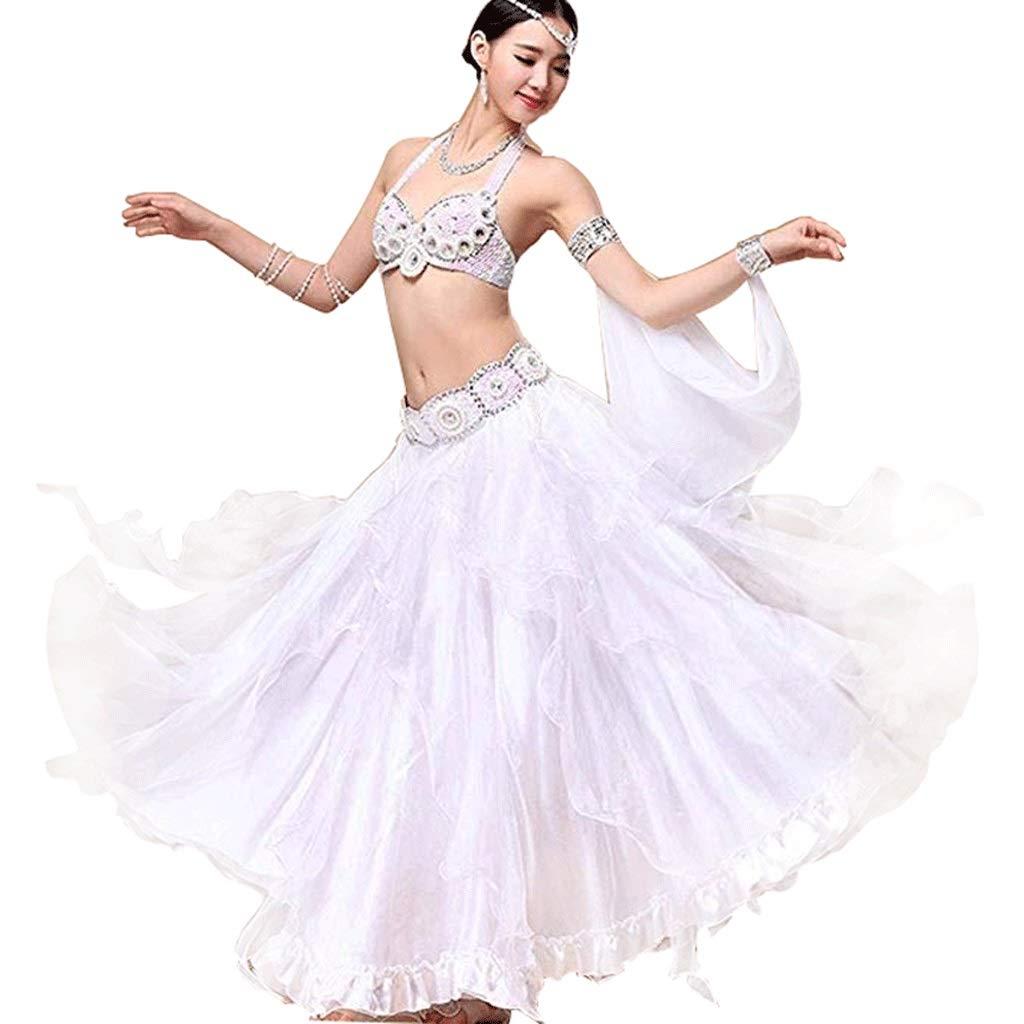 最新最全の 女性のためのプロのベリーダンスダンスドレス衣装パフォーマンス衣料品スーツ女性、ビーズのブラジャー/スパンコールガードル/ビッグスイングスカート3本 S B07Q5Z4LL9 白 S B07Q5Z4LL9 s s, Funny Jinx:d18b380c --- a0267596.xsph.ru