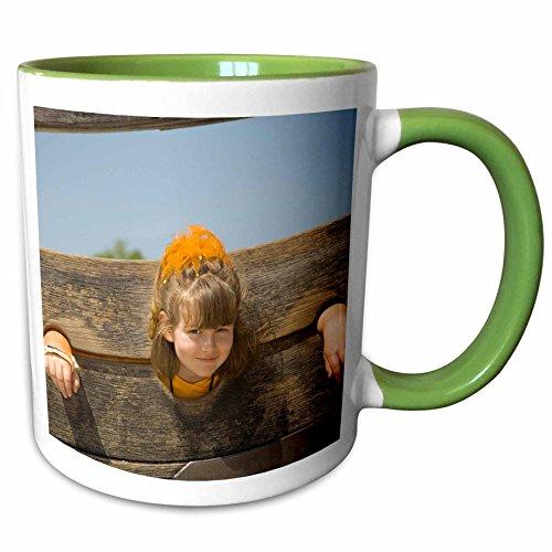 3dRose Danita Delimont - Children - Girl in stockade, Williamsburg, Virginia - US47 JME0074 - John and Lisa Merrill - 11oz Two-Tone Green Mug - Williamsburg Outlets Virginia