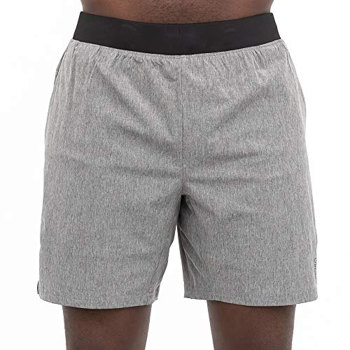 Skora Men's Two in One Athletic Running Shorts 7 Inch Inseam with Side Pockets and Zip Back Pocket (Medium Grey Chambray/Greystone, X-Large)