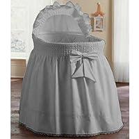 aBaby Color Block Bassinet Skirt Grey//Pastel Blue//White Large