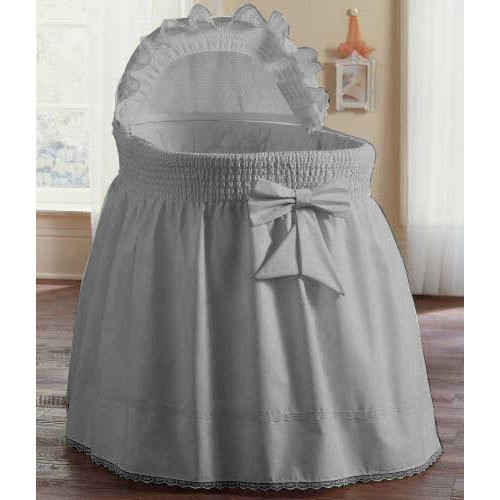 aBaby Smocked Bassinet Skirt, Grey, Small 009243440673