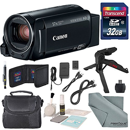 Canon Vixia HF R82 HD Camcorder Bundle w/ 32GB SD Card, Table Tripod, Camcorder Case, Cleaning Accessories, and Fibertique Cleaning Cloth by Photo Savings