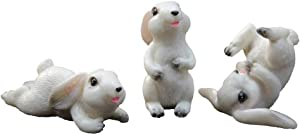 Happyyami 3pcs Miniature Bunny Figure Animal Rabbit Toys Resin Fairy Garden Party Easter Decorations