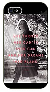 """LJF phone case iPhone 6 (4.7"""") Bible Verse - She turned her can'ts into can and her dreams into plans. Girl walking - black plastic case / Verses, Inspirational and Motivational"""