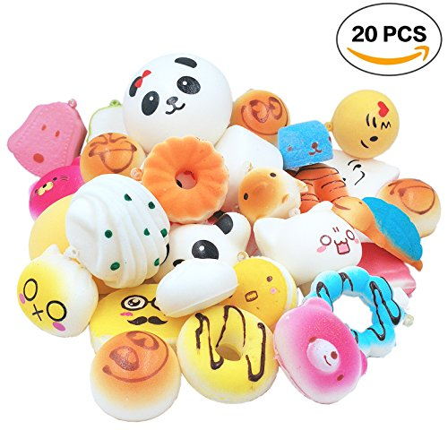 Price comparison product image R.FLOWER 20PCS Random Jumbo Soft Squishy Cream Scented Slow Rising Kawaii Simulation Bread Children Toy Medium Mini Squishies Cake/Panda/Bread/Buns Phone Straps