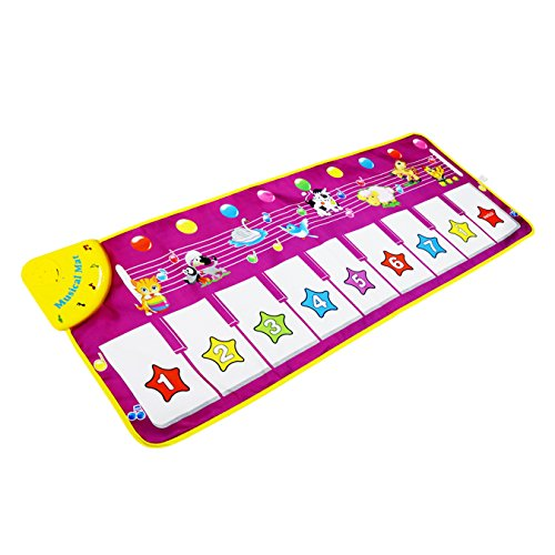 Sanmersen Musical Dance Mat Baby Early Education Music Piano Keyboard Playmat Blanket Touch Play Safety Learn Singing Funny Toy for Kids (Purple) (Pink)