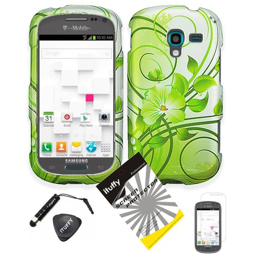 (4 items Combo: ITUFFY (TM) LCD Screen Protector Film + Mini Stylus Pen + Case Opener + Silver Green Vine Hawaiian Flower Design Rubberized Snap on Hard Shell Cover Faceplate Skin Phone Case for (MetroPcs/ T-Mobile) Samsung Galaxy Exhibit (2013) / T599 / SGH-T599 (Not Compatible with Exhibit 2 II))