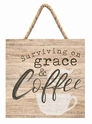 Coffee Grace (P. Graham Dunn Surviving on Grace Coffee Natural 7 x 7 Inch Wood Pallet Wall Hanging Sign)