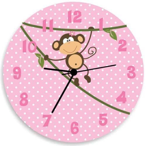Monkey wall clock pink and white polka dots for Red and white polka dot decorations