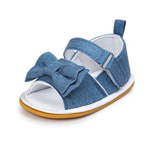 Itaar bebé niñas arco antideslizante suave suela de goma zapatos de sandalias de verano para lactantes y bebés (primera caminantes Black-White Grid Talla:12-18 meses Vaquero
