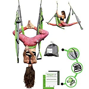 Aerial Trapeze Yoga Swing – [UPDATED VERSION] Gym Strength Antigravity Yoga Hammock – Inversion Trapeze Sling Exercise…