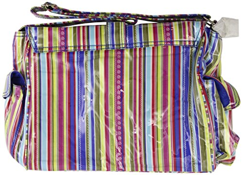 Kalencom Fashion - Bolso cambiador con accesorios, diseño de lunares, color marrón y azul Cobalt Stripes