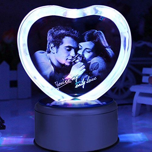 LIWUYOU Personalized Custom Photo and Text Colorful Romantic Crystal Music Box, Engrave You're my only love, Heart Couple, Bluetooth base by LIWUYOU (Image #3)