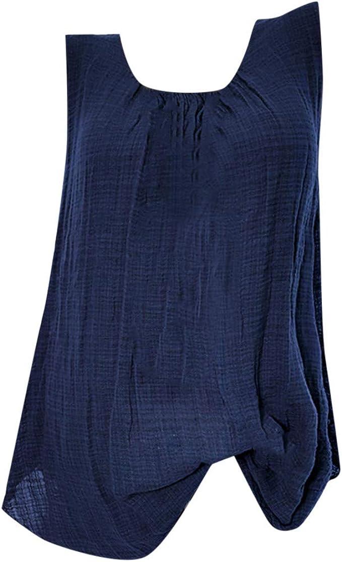 VECDY Blusas para Mujer Elegantes Tallas Grandes, Camiseta Sin Mangas Holgada del Chaleco Algodon Lino Camiseta Suelto Verano Tops Casual Fiesta T-Shirt Ajustable: Amazon.es: Ropa y accesorios