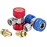 CarBole A/C R-134a Freon System Quick Coupler Connector HVAC Low and High Side 7/16-20UNF Thread Size for Automotive Air Conditioning (T Coupler)