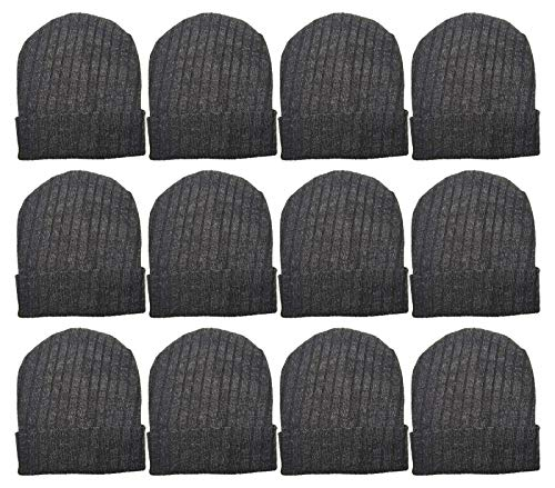 Merino Wool Winter Beanie Hats, Thermal Heat Insulating Heavy Duty Cuffed Cold Weather Cap, Bulk Pack Gift (12 Pack - Dark Gray)
