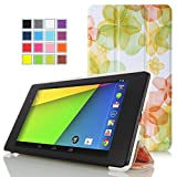 Google New Nexus 7 FHD 2nd Gen Case - MoKo Ultra Slim Lightweight Smart-shell Stand Cover with Auto Wake / Sleep for Google Nexus 2 7.0 Inch 2013 Generation Android 4.3 Tablet, Flower GREEN