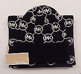 Michael Kors Women's 2 Piece Scarf and Hat Set Blk/wht Circle Logo Black/ White