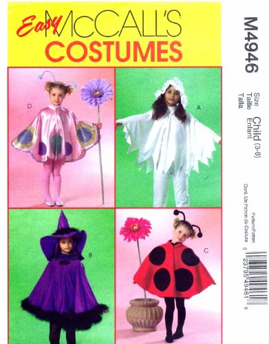 Girls Cape Costumes Ladybug Witch McCall's 4946 Sewing Pattern Size 3 - 8 ()