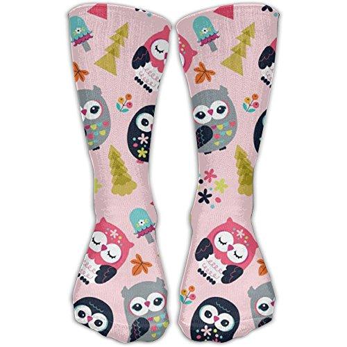 Man Women Mid Calf Length Socks Cartoon Owl Basketball Sports Stockings Boot Crew Socks (Owls Basketball)