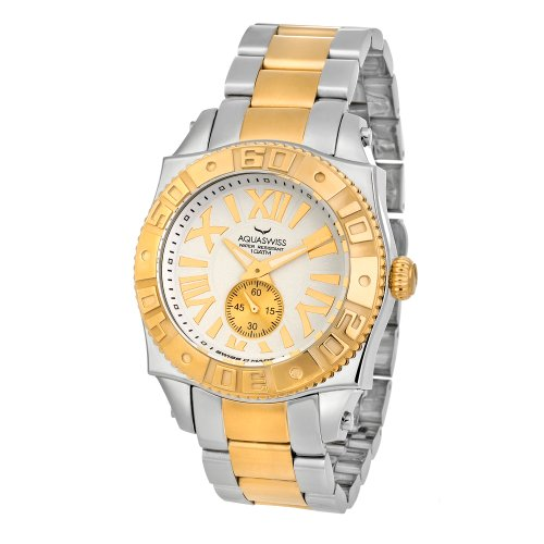 Swiss Quartz 44 MM Watch White Dial Stainless Steel and Gold Gold Tone Bezel - Aquaswiss 62G0073