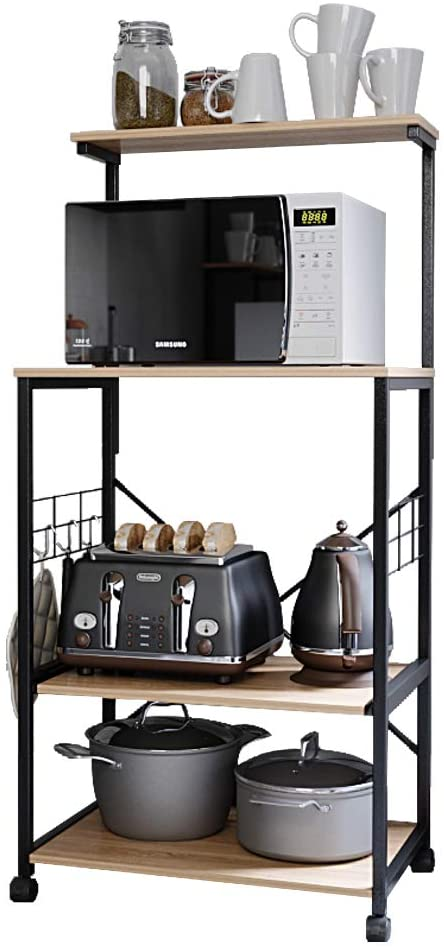 Bestier Kitchen Baker's Rack Utility Storage Shelf Microwave Stand Cart on Wheels with Side Hooks, Kitchen Organizer Rack 4 Tier Shelves Adjustable Feet P2 Wood Oak