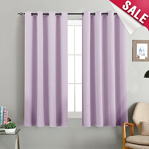 Blackout Curtains For Kids Room Darkening Window Curtain Panels Nursery Girl Light Blocking Living 63 Inches Long Triple Weave Lilac