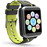 Kids Music Smart Watch for Boys and Girls - Smart Watch with Mp3 FM Player Watch [with 1GB Micro SD Card] and Camera Flashlight SIM Slot Phone Call Voice Chat LBS Tracker for Students age 4-12 (Black)