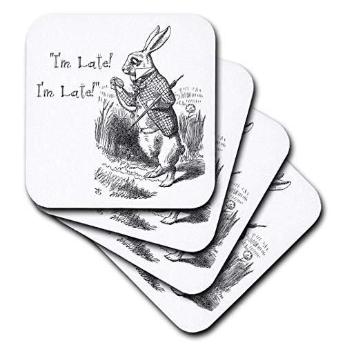 - 3dRose CST_193791_1 Alice in Wonderland White Rabbit I'm Late John Tenniel Illustration Soft Coasters (Set of 4)