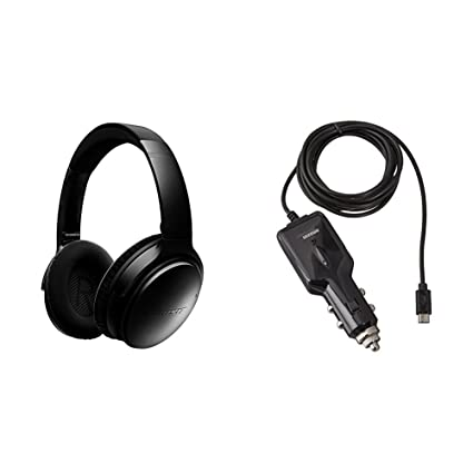 67d2e1be869 Amazon.com: Bose QuietComfort 35 Wireless Headphones, Noise Cancelling -  Black with AmazonBasics Car Charger: Home Audio & Theater