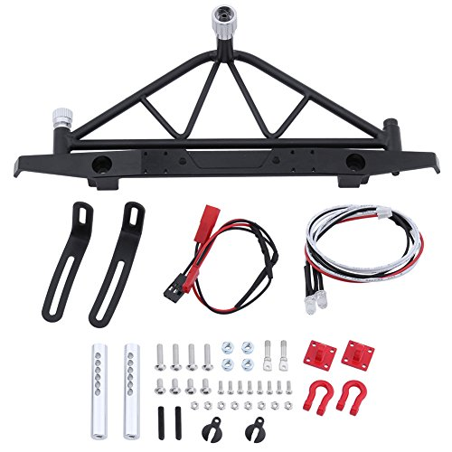 Hobbypark Metal Rear Bumper w/ Spare Tire Carrier Rack & D-Ring Tow Shackles & LED Tail Lights Set Kit for Axial SCX10 SCX-10 90046 1/10 RC Rock Crawler Hop-Ups