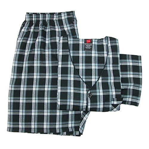 Hanes Men's Short Sleeve Short Leg Pajama Set, XL, Black by Hanes
